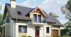 Версия мансардного дома Z263 с увеличением гаража