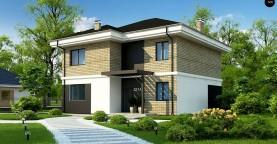 Двухэтажный дом с современным дизайном экстерьера и удобным интерьером