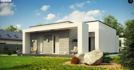 Одноэтажный дом с плоской крышей и крытыми террасами
