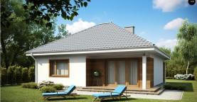 Проект одноэтажного практичного и уютного дома с крытой террасой.