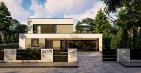 Cовременный двухэтажный дом с плоской крышей и гаражом на две машины.
