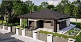 Функциональный одноэтажный дом с гаражом на одну машину, расположенный в центральной части переднего фасада.