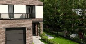 Проект компактного современного дома с двухуровневой планировкой и гаражом на один автомобиль.