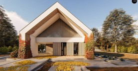 Современный дом с двускатной крышей с гаражом на одно авто