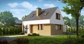 Компактный стильный дом простой формы с большой площадью остекления в дневной зоне.