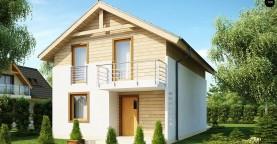 Простой и удобный дом для узкого участка с высокой аттиковой стеной.