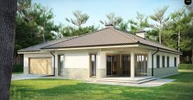 Одноэтажный дом в скандинавском стиле с дополнительной фронтальной террасой и гаражом на две машины.