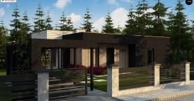 Проект просторного одноуровневого дома с плоской кровлей.
