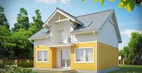 Стильный дом с мансардным окном и балконом, а также кухней со стороны сада.