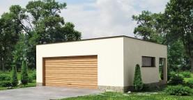 Проект стильного гаража с плоской кровлей для двух машин