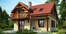Компактный дом с мансардой с камином на террасе.
