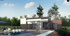 Одноэтажный дом с плоской кровлей, тремя спальнями и гаражом на две машины