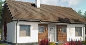Проект небольшого одноэтажного дома в европейском стиле с двускатной кровлей.