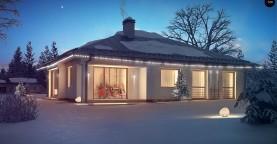 Функциональный одноэтажный дом с фронтальным гаражом для двух авто, большим хозяйственным помещением, с кухней со стороны сада.