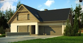 Стильный и аккуратный мансардный дом с гаражом для двух машин.