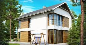 Компактный двухэтажный дом с большими окнами, подходящий для узкого участка.