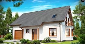 Элегантный дом простой формы со встроенным гаражом, эркером и балконом над ним.
