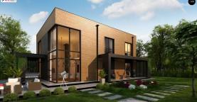 Проект современного двухэтажного дома с вторым светом и большой площадью остекления.