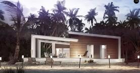 Проект современного дома в стиле хай-тек с двумя спальнями.