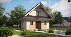 Небольшой мансардный дом с верандой, подойдет для строительства на узком участке.