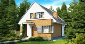Компактный традиционный дом с современными элементами дизайна фасадов.