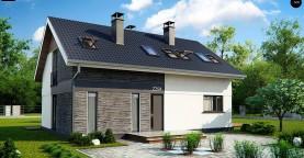 Комфортный проект мансардного дома с панорамным остеклением в гостинной