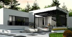 Одноэтажный дом с плоской кровлей адаптированный под строительство в сейсмических районах