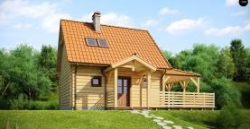 Проект небольшого дома с мансардой, с крытой боковой террасой.