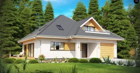 Красивый и функциональный дом с боковой террасой и необычным мансардным окном.