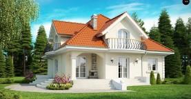 Элегантный классический дом с изящными мансардными окнами и балконами.