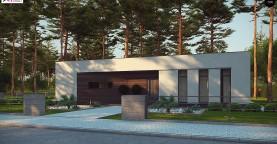 Современный одноэтажный дом с боковой террасой