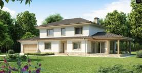 Просторная итальянская двухэтажная вилла с крытой боковой террасой и большим гаражом.