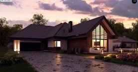 Увеличенная версия Z402 одноэтажный дом с гаражом на два автомобиля