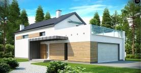 Дом современного простого дизайна. Продольная форма, уютный комфортный интерьер.