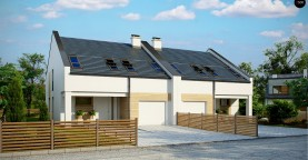 Проект домов для симметричной застройки стильного современного дизайна.