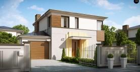 Двухэтажный дом, сочетающий традиционные формы и современный дизайн, с тремя спальнями и гаражом.