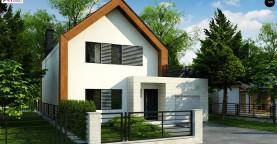 Современный дом с двускатной крышей и гаражом для одного пользователя
