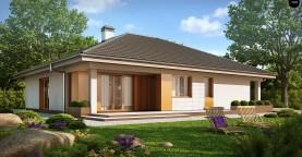 Практичный одноэтажный дом с гаражом для двух автомобилей и большим хозяйственным помещением.