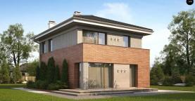 Проект компактного, функционального дома, с кирпичной облицовкой фасадов.