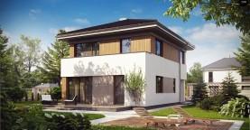 Проект компактного двухэтажного дома строгого современного стиля.