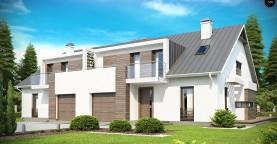 Современный дом для симметричной застройки с гаражом и дополнительной спальней на первом этаже.