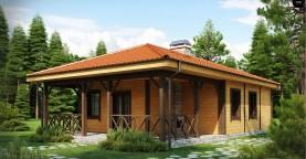 Компактный одноэтажный дом с большой крытой террасой.