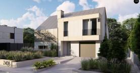 Cовременный проект дома с двускатной крышей и просторными большими мансардными окнами