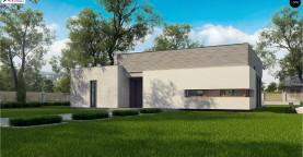 Проект современного дома с плоской кровлей и просторной открытой дневной зоной.