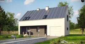 Проект мансардного с тремя спальнями и двускатной крышей