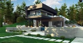 Проект современного двухэтажного дома. Проект подойдет для строительства на участке со склоном.