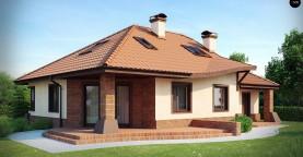 Просторный дом с гаражом, большим хозяйственным помещением и угловой террасой.