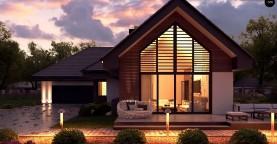 Одноэтажный дом в современном стиле, с многоскатной крышей и гаражом на два автомобиля.
