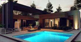 Современный дом с одноуровневой планировкой для большой семьи.