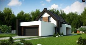 Проект удобного и красивого мансардного дома с гаражом на 2 машини и 3 спальнями.